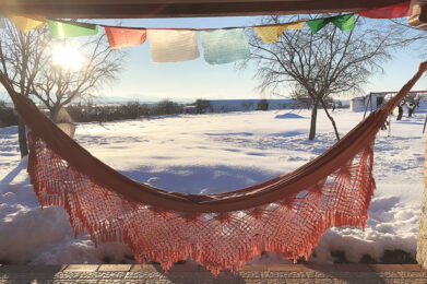 hammock cozy corners at the springs homestead with snow