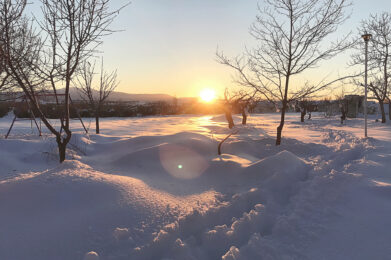 Sunset over the 2021 epic snowfall